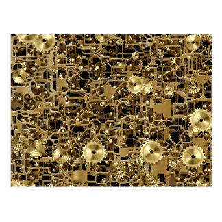 Golden Clockwork Gear Pattern Texture Background Postcard