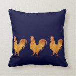 Golden Cockerels Throw Pillow