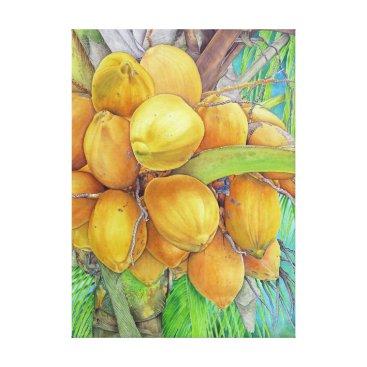 Hawaiian Themed Golden Coconuts Canvas Print