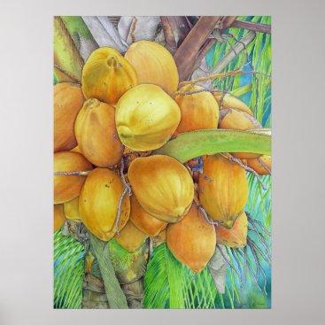 Hawaiian Themed Golden Coconuts Poster