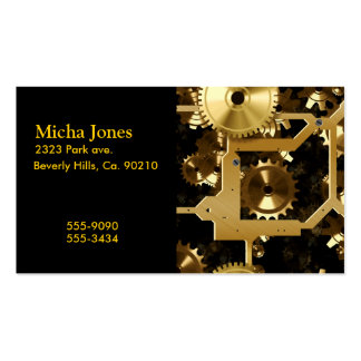Golden Cogs And Gears 3 Dimensional Business Card