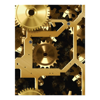 """Golden Cogs And Gears 3 Dimensional 8.5"""" X 11"""" Flyer"""