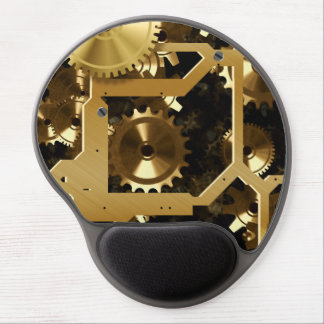 Golden Cogs And Gears 3 Dimensional Gel Mouse Pad