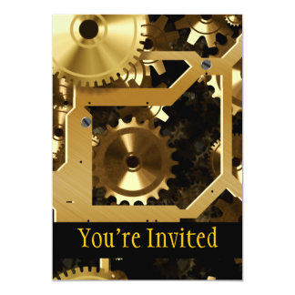 Golden Cogs And Gears 3 Dimensional 5x7 Paper Invitation Card