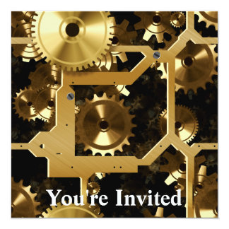 Golden Cogs And Gears 3 Dimensional 5.25x5.25 Square Paper Invitation Card