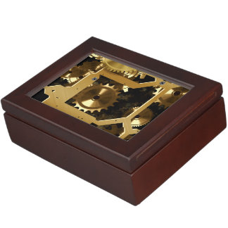 Golden Cogs And Gears 3 Dimensional Keepsake Box