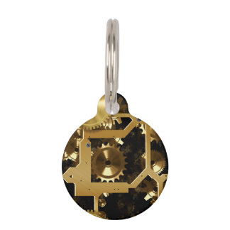 Golden Cogs And Gears 3 Dimensional Pet Tag
