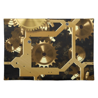 Golden Cogs And Gears 3 Dimensional Cloth Placemat