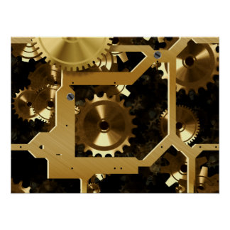 Golden Cogs And Gears 3 Dimensional Poster
