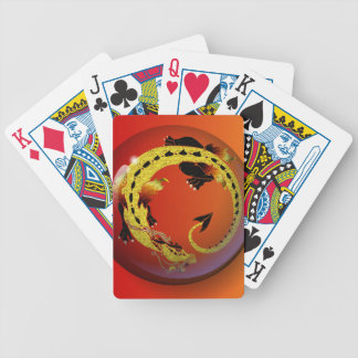 Golden Coiled Dragon Bicycle Playing Cards