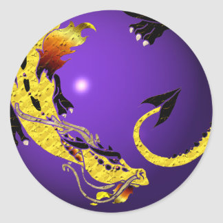 Golden Coiled Dragon Classic Round Sticker