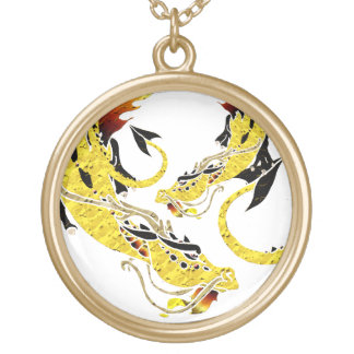 Golden Coiled Dragon Round Pendant Necklace