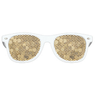 Golden Coins Adult Retro Party Shades, White Retro Sunglasses