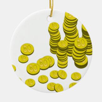 Golden Coins Ceramic Ornament