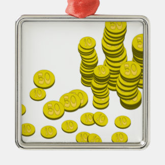 Golden Coins Metal Ornament