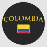 Golden Colombia Round Stickers