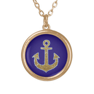 golden color anchor on blue round pendant necklace