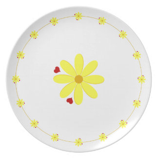 Golden Color Daisy Melamine Plate