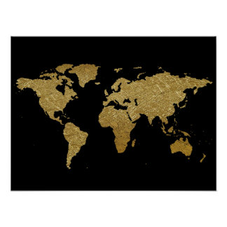 golden color world map poster