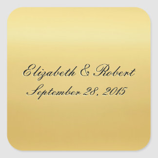 Golden Colored Wedding Seal Square Stickers