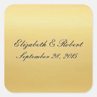 Golden Colored Wedding Seal Square Sticker