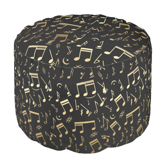 Golden colour Musical Notes on Black Background Pouf