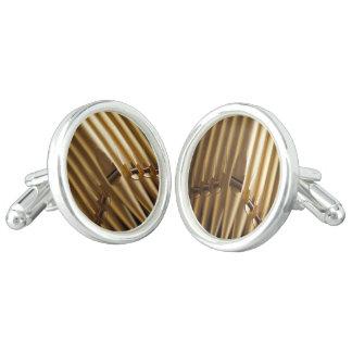 Golden coloured organ pipes cufflinks