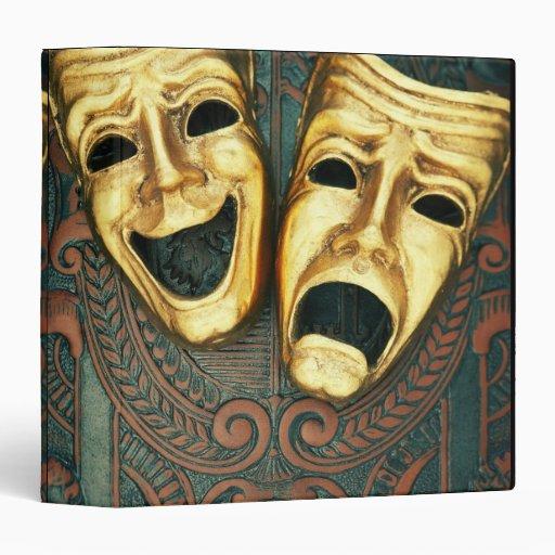 Golden comedy and tragedy masks on patterned 3 ring binder