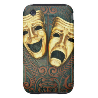 Golden comedy and tragedy masks on patterned tough iPhone 3 cases