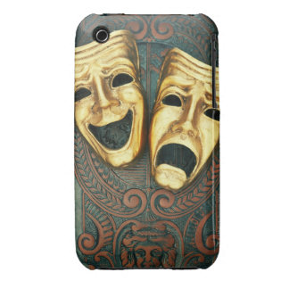 Golden comedy and tragedy masks on patterned iPhone 3 case