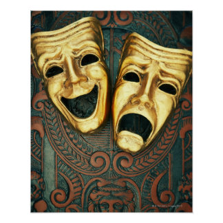 Golden comedy and tragedy masks on patterned posters