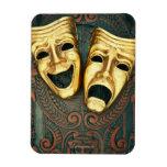 Golden comedy and tragedy masks on patterned vinyl magnets