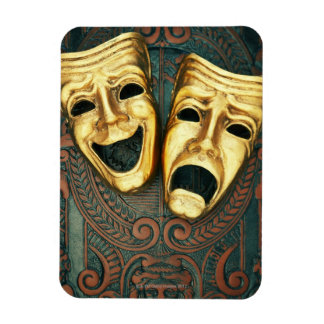 Golden comedy and tragedy masks on patterned rectangular photo magnet