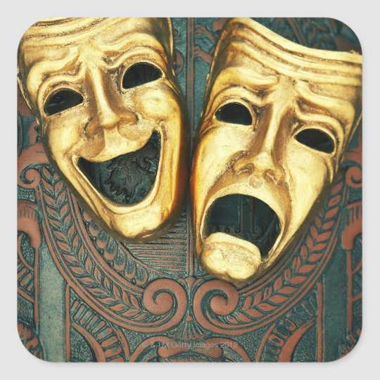Golden comedy and tragedy masks on patterned square sticker