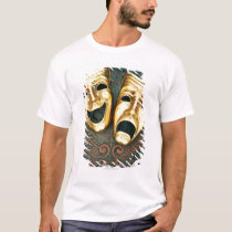 Golden comedy and tragedy masks on patterned T-Shirt