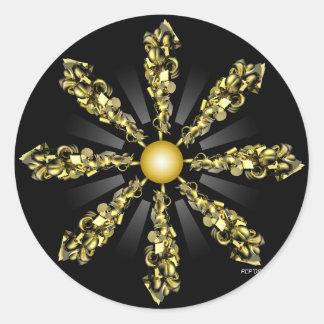 Golden Composite Round Stickers
