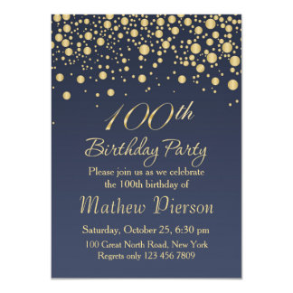 Golden confetti 100th Birthday Party Invitation