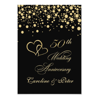 Golden confetti 50th Wedding Anniversary Invite