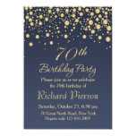 Golden Confetti 70th Birthday Party Invitation at Zazzle