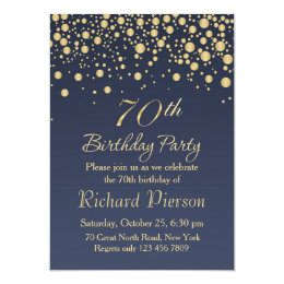 70th birthday invitations announcements zazzle golden confetti 70th birthday party invitation stopboris Choice Image