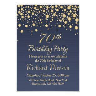 Golden Confetti 70th Birthday Party Invitation
