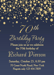 70th birthday invitations zazzle golden confetti 70th birthday party invitation filmwisefo
