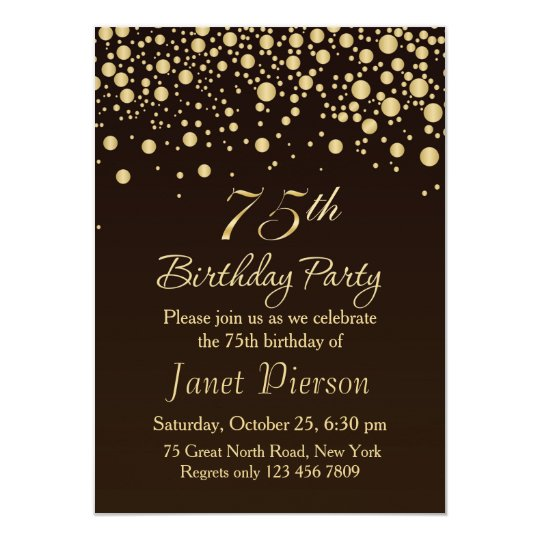 golden confetti 75th birthday party invitation zazzle com