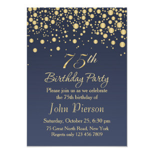75th birthday invitations announcements zazzle golden confetti 75th birthday party invitation filmwisefo