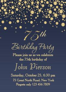 60 off 75th birthday invitations shop now to save zazzle golden confetti 75th birthday party invitation filmwisefo