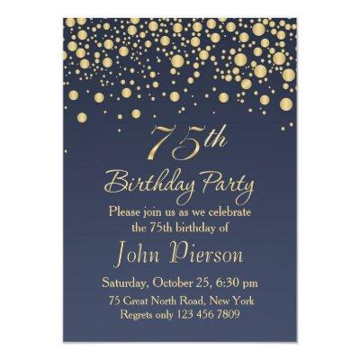 Golden confetti 75th Birthday Party Invitation Zazzlecom