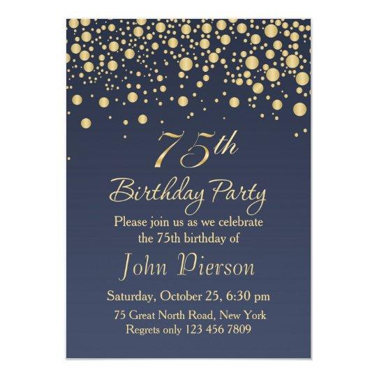 Golden Confetti 75th Birthday Party Invitation Zazzle Com
