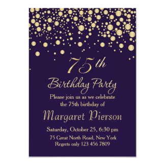 75th Birthday Party Invitations Announcements Zazzle