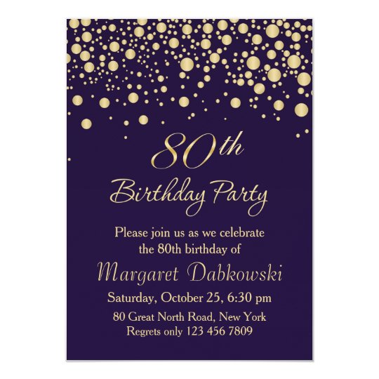 golden confetti 80th birthday party invitation zazzle com