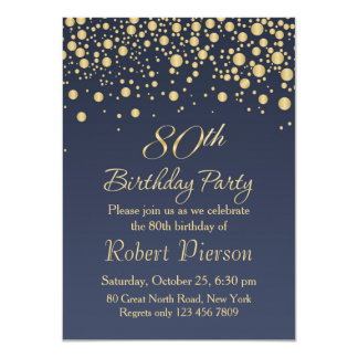 Golden confetti 80th Birthday Party Invitation